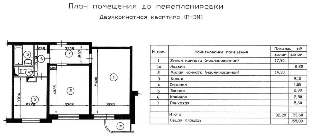 План двухкомнатной квартиры серии П-3М до перепланировки