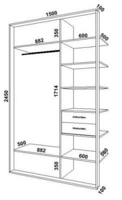 Схема встроенного шкафа-купе на 2 двери.