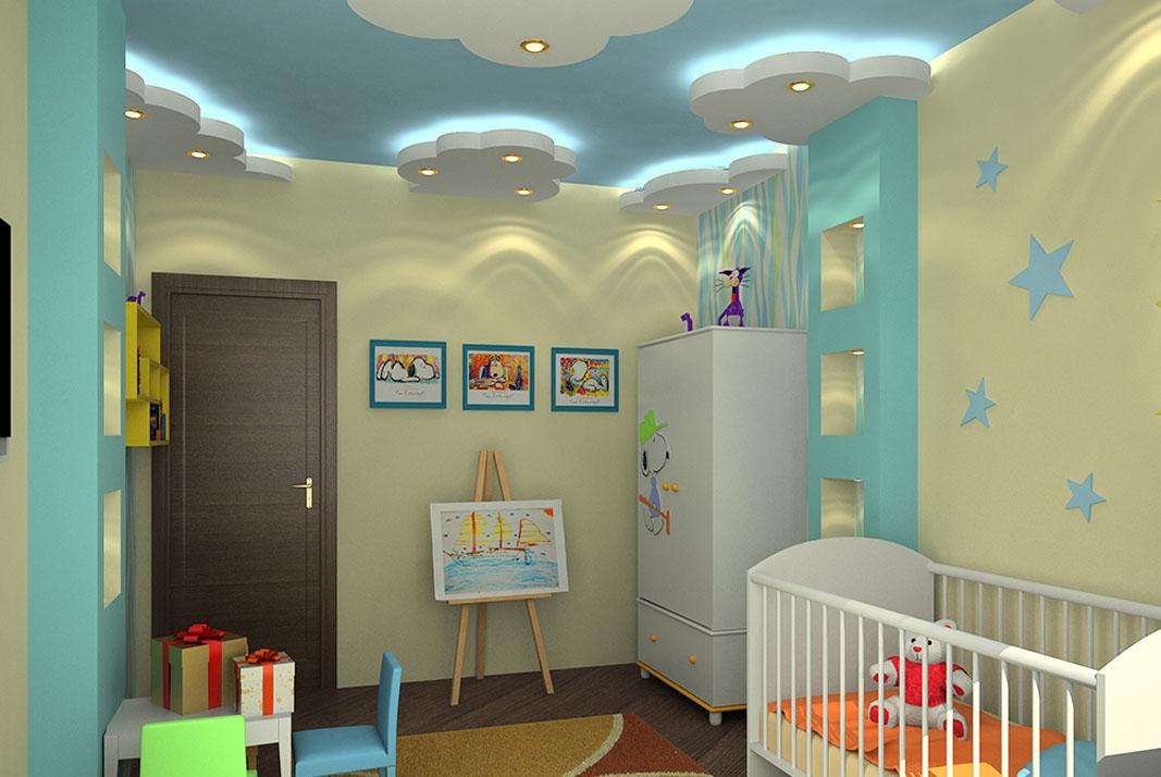 Дизайны потолков для детской