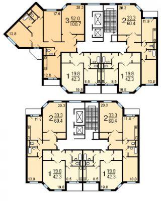 Типовая планировка жилого дома серии ИП-46С.  Панельный дом.  Квартиры: 1-, 2- и 3-комнатные.