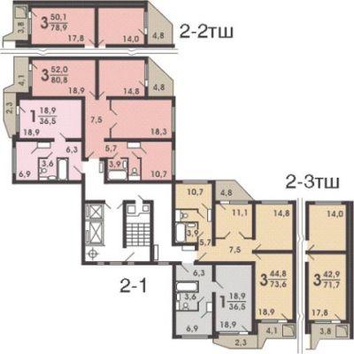 Планировка дома П-44т.