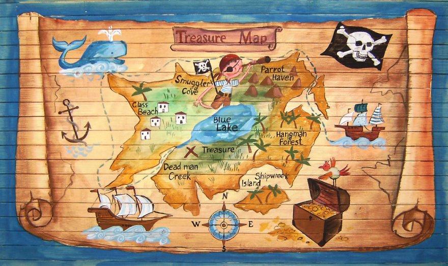 детская пиратская карта Елена - KvartiraKrasivo.ru