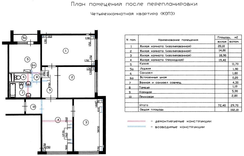 Перейти к вариантам перепланировки квартир домов серии.  Вариант перепланировки 1 четырехкомнатной квартиры серии КОПЭ.