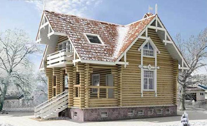 Проект компактного бревенчатого дома H-134-1D с площадью 134.10 кв.м и...